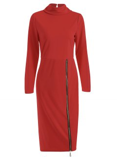 Turtle Neck Zippered Bodycon Dress - Red S