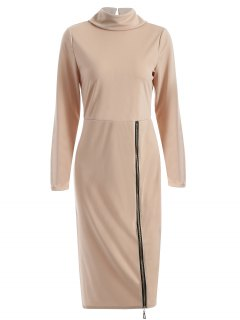 Turtle Neck Zippered Bodycon Dress - Apricot M