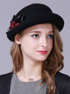 Handmade Ribbon Flower Felt Bowler Hat - Black