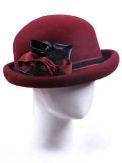 Handmade Ribbon Flower Felt Bowler Hat - Claret