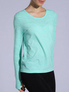 Gloved Long Sleeve Sports T-Shirt - Light Green M