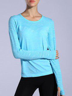 Gloved Long Sleeve Sports T-Shirt - Azure M