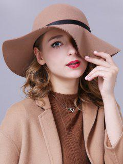 Chain Ribbon Felt Jazz Hat - Light Camel