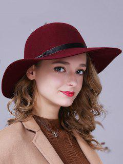Chain Ribbon Felt Jazz Hat - Wine Red