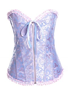 Retro Zippé Lace Up Corset - Bleu-violet S