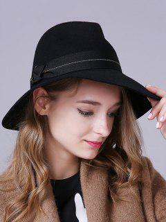Knotted Band Felt Jazz Hat - Black