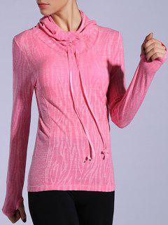 Dry-Quick Heathered Drawstring Pink Hoodie - Deep Pink M
