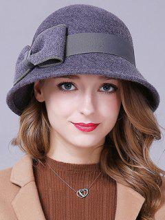 Big Bowknot Band Felt Cloche Hat - Gray