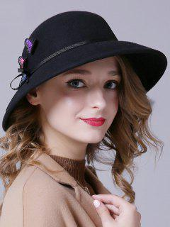 Butterfly Applique Lace-Up Felt Jazz Hat - Black