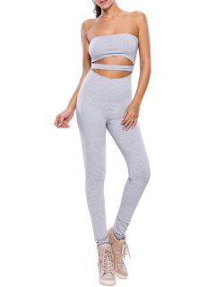 Sporty Strapless Hollow Out Gym Jumpsuit - Gray L
