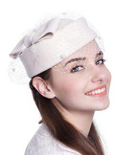 Bowknot Veil Felt Pillbox Hat - White