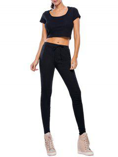 Casual Crop Top And Pants Fitness Gym Outfit - Black S