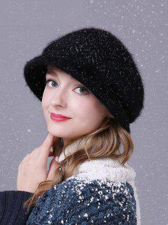 Faux Fur Wave Stripe Newsboy Cap - Black