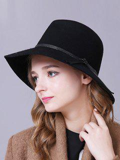 Knotted PU Belt Felt Jazz Hat - Black