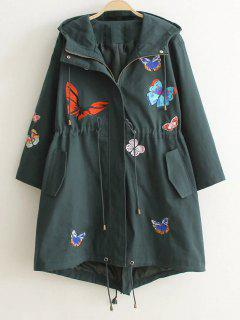 Hooded Embroidered Coat - Blackish Green S