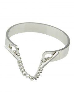 Bar Chain Charm Bangle - Silver White