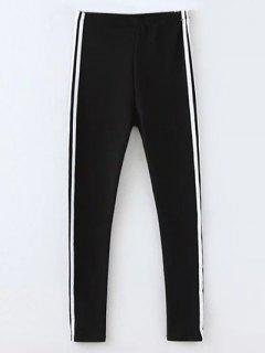 Elastic Waist Gym Pants - Black