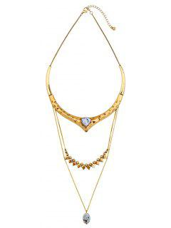 Dimple Layered Faux Stone Necklace - Golden