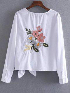 Bowknot Embroidered T-Shirt - White Xs