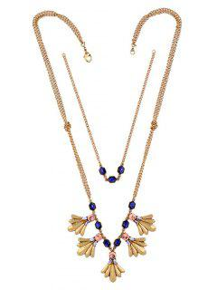 Layered Faux Gem Tassel Necklace - Golden