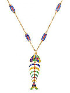Enamel Fishbone Necklace - Blue