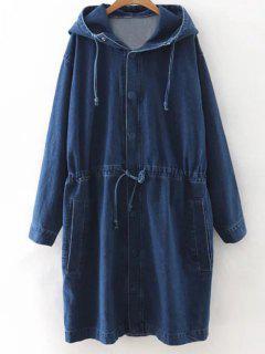 Manteau Denim à Capuche - Bleu S