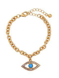 Rhinestone Hollow Eye Bracelet - Golden