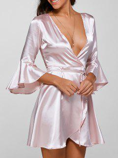 Bell Sleeve Plunging Neck Wrap Dress - Light Pink S
