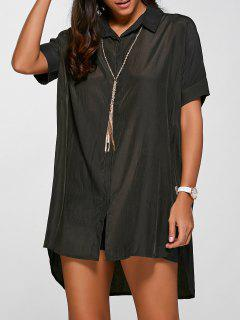 High Low Half Sleeve Shirt Dress - Army Green S