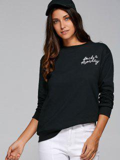 Sports Printed Loose Sweatshirt - Black S