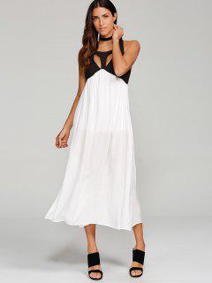 High Slit Cut Out Midi Dress - White S