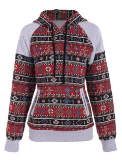 Front Pocket Tribal Pattern Hoodie - S