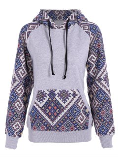Front Pocket Jacquard Panelled Hoodie - Gray And Blue S