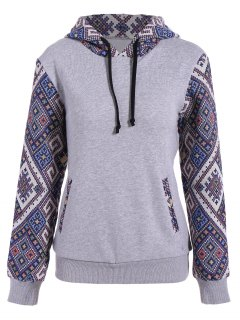 Jacquard Panel Front Pocket Hoodie - Gray L