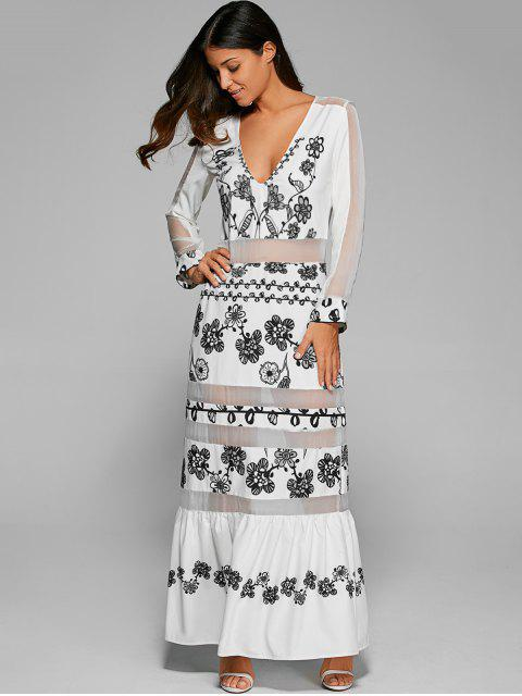 trendy Mesh Panelled Long Dress With Sleeves - WHITE S Mobile