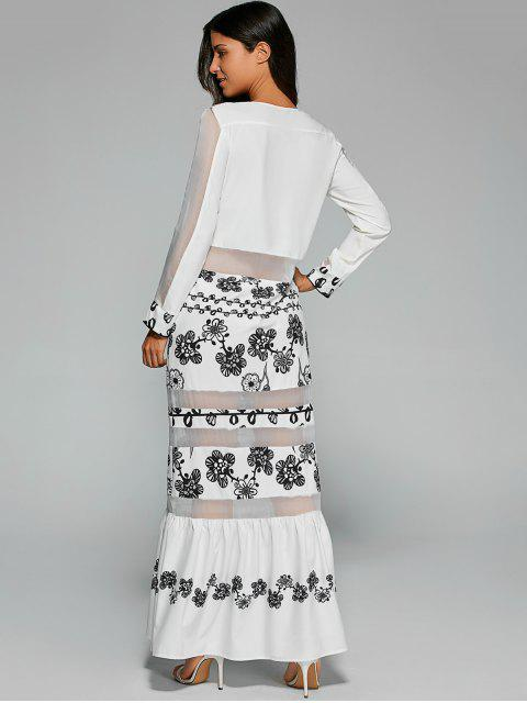 Robe longue à panneaux en manche avec manches - Blanc S Mobile
