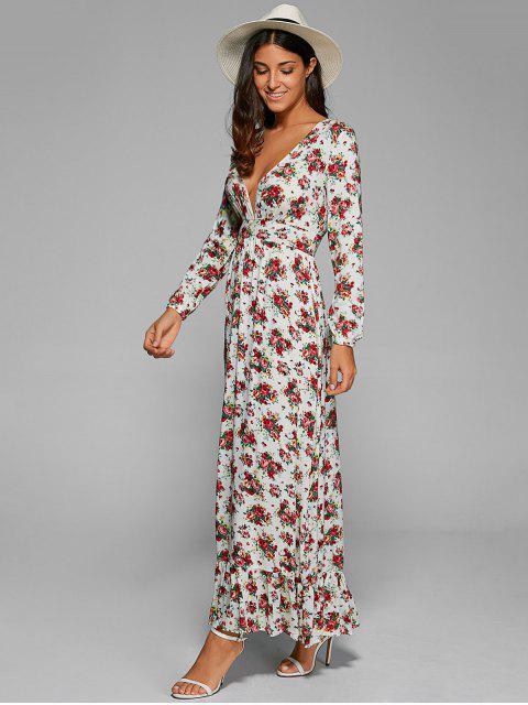 fancy Empire Waist Maxi Floral Plunging Neckline Dress - WHITE S Mobile