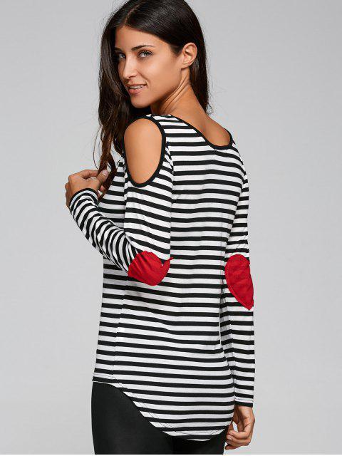 lady Casual Striped Cold Shoulder T-Shirt - BLACK XL Mobile