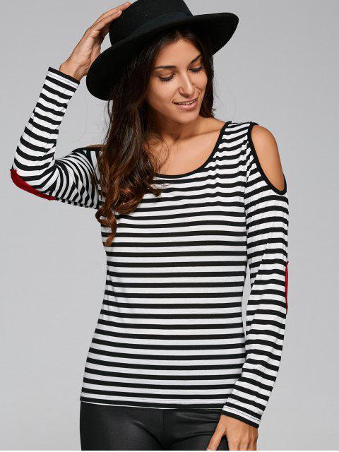 Striped Casual T-shirt de l'épaule froide - Noir XS Mobile