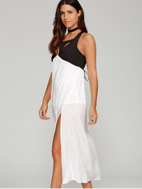 robe longue découpée avec fente - Blanc M Mobile