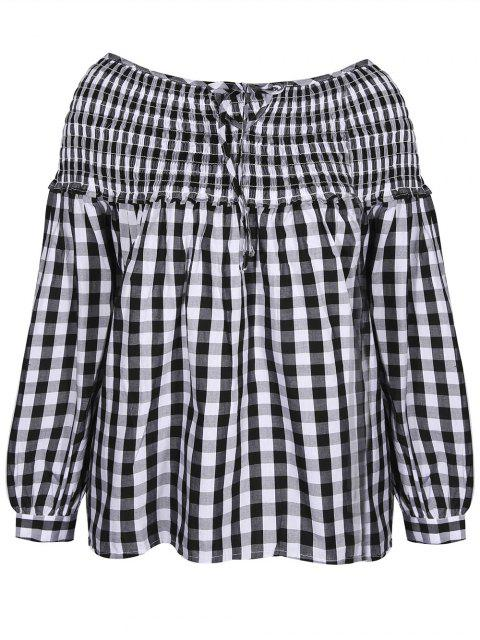 chic Boat Neck Lantern Sleeve Blouse - WHITE AND BLACK S Mobile