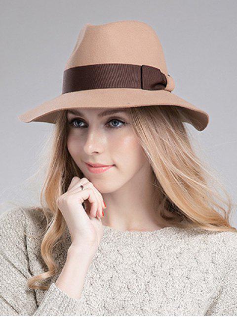 buy Bowknot Ribbon Felt Britain Hat - LIGHT CAMEL  Mobile