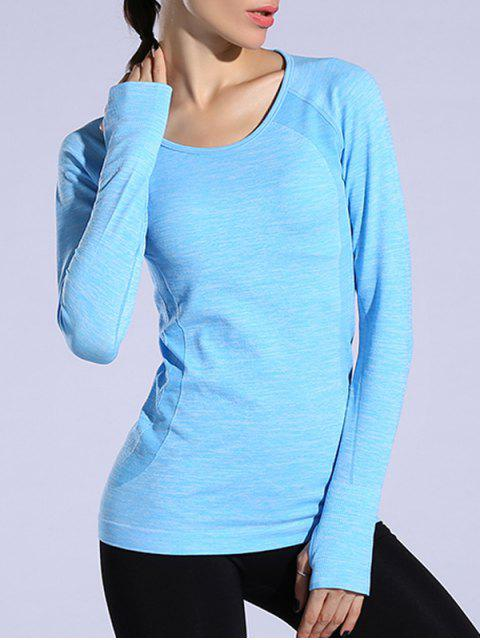 shop Gloved Long Sleeve Quick Dry T-Shirt - AZURE L Mobile