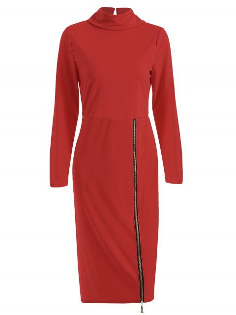 latest Turtle Neck Zippered Bodycon Dress - RED S Mobile