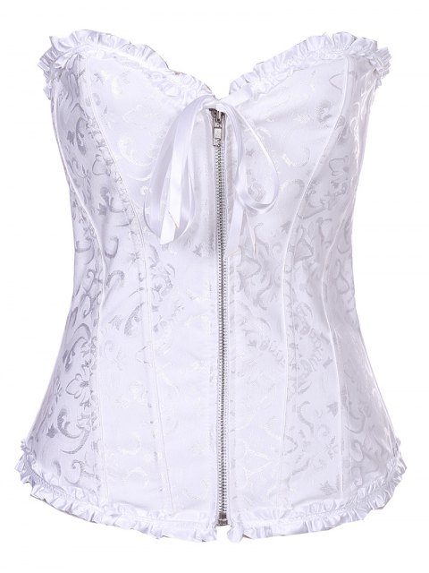 affordable Retro Zipped Lace Up Corset - WHITE M Mobile
