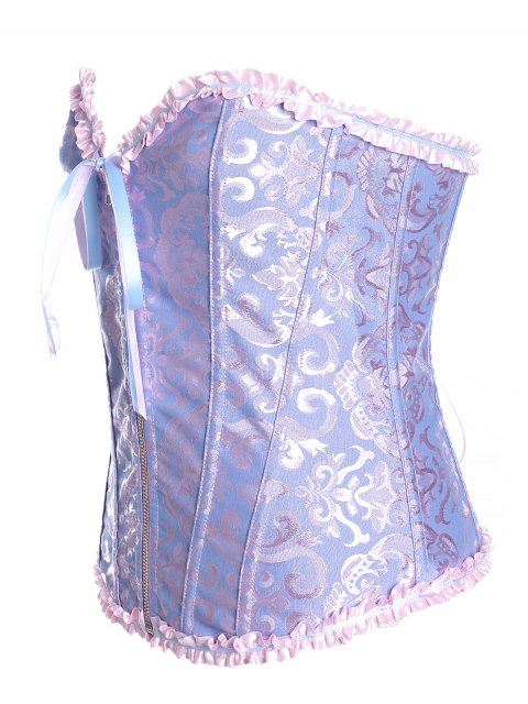 outfit Retro Zipped Lace Up Corset - BLUISH VIOLET S Mobile