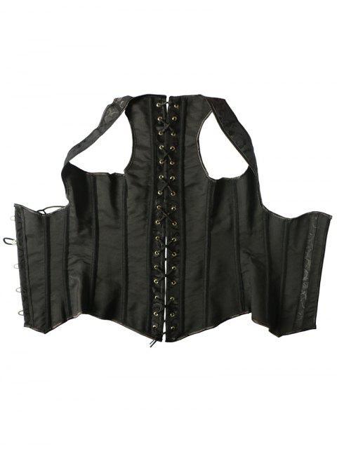women's Vintage Lace Up Steel Boned Corset Vest - BLACK XL Mobile