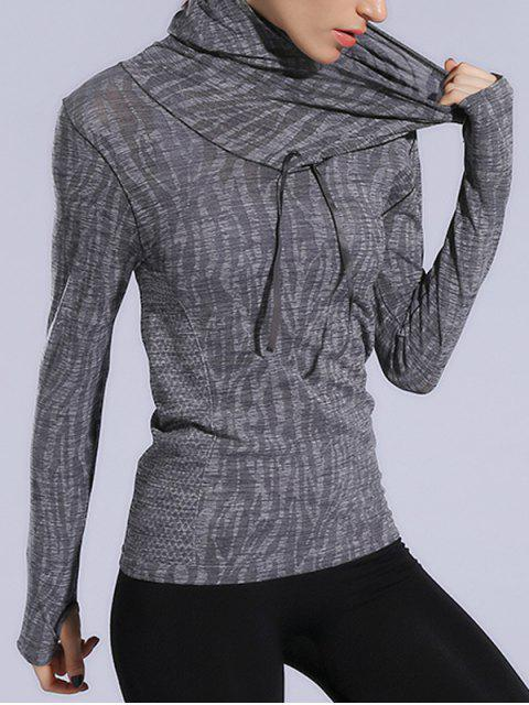lady Dry-Quick Heathered Drawstring Hoodie - GRAY L Mobile