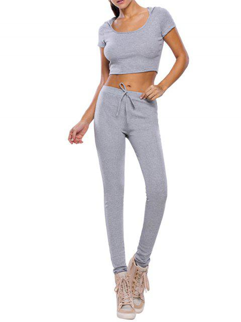 sale Casual Crop Top and Pants Fitness Gym Outfit - GRAY L Mobile