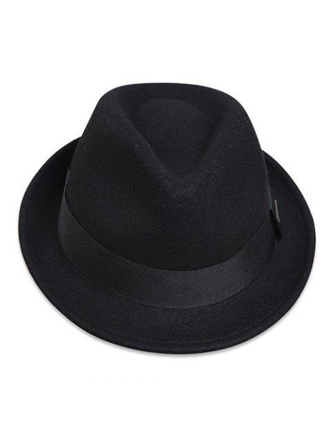 best Wide Band Felt Jazz Hat - BLACK  Mobile